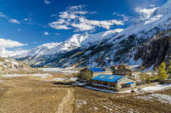 Dorp op Annapurna-trek stock afbeeldingen