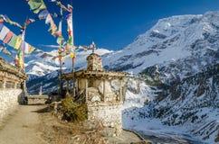 Dorp op Annapurna-trek stock afbeelding