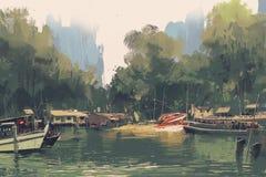Dorp op de bank van rivier royalty-vrije illustratie
