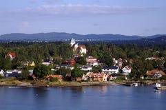Dorp in Oslofjord Stock Afbeeldingen