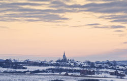 Dorp - Roemeens platteland Stock Foto