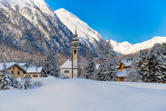 Dorp van Bever, Zwitserland Stock Fotografie