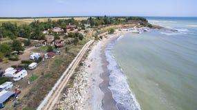 Dorp van Durankulak van hierboven, de Kust van de Zwarte Zee Stock Foto