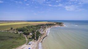 Dorp van Durankulak van hierboven, de Kust van de Zwarte Zee Stock Foto's