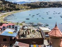 Dorp van Juli bij meer Titicaca Stock Foto