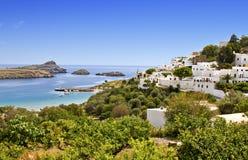 Dorp van Lindos bij het eiland van Rhodos, Griekenland Stock Foto
