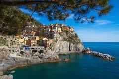 Dorp van Manarola, Cinque Terre, Italië Stock Afbeeldingen