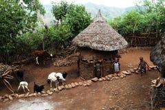 Dorp van stam Konso in Ethiopië 29 12 2009 Stock Foto