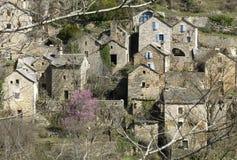 Dorp van steenhuizen, Gorges du Tarne stock foto's
