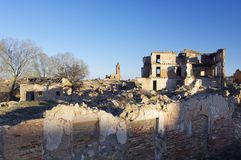 Dorp vernietigde Belchite stock afbeelding