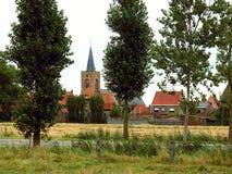 Dorp in Vlaanderen, België stock afbeeldingen