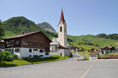 Dorp Warth am Arlberg Lager Oostenrijk Stock Foto