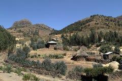 Dorpen en landbouwbedrijven in Ethiopië stock afbeeldingen