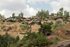 Dorpen en landbouwbedrijven in Ethiopië royalty-vrije stock foto