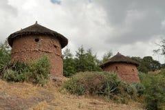 Dorpen en landbouwbedrijven in Ethiopië stock fotografie