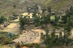 Dorpen en landbouwbedrijven in Ethiopië stock foto