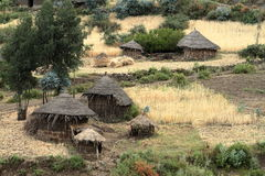 Dorpen en landbouwbedrijven in Ethiopië royalty-vrije stock fotografie