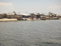 Dorpsbewoners op Ngamba-Eiland, Oeganda, Afrika Royalty-vrije Stock Fotografie