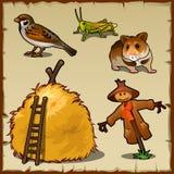 Dorpsdieren, hooiberg en enge vogelverschrikker stock illustratie