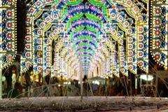 Dorpsfestival met verlichting Royalty-vrije Stock Foto