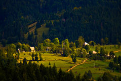 Dorpshuizen hoog op berg, bos Royalty-vrije Stock Foto