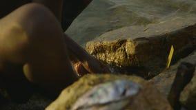 Dorpsmens het schoonmaken vissen bij Moresby-dorp stock videobeelden