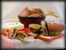 Dorpsontbijt met brood en boter royalty-vrije stock fotografie