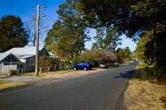 Dorpsstraat met Huizen in Blauwe Bergen Australië Royalty-vrije Stock Afbeelding