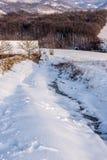 Dorpsweg in de winter royalty-vrije stock afbeelding