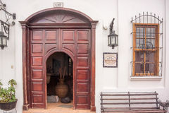 Door at the entrance to hotel in Jalapa, Guatemala. Royalty Free Stock Photos