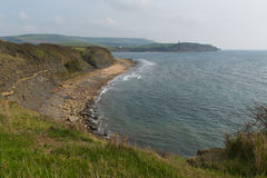 Dorset coast Kimmeridge Bay east of Lulworth Cove uk towards Clavell Tower Stock Images