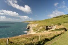 Dorset coastal path. Dancing Ledge. Dorset coastal path near Dancing Ledge stock image