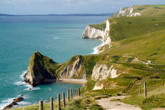 Dorset coastline Durdle Door. Dorset coastline looking towards Durdle Door, the route of the South-West coastal path Stock Image