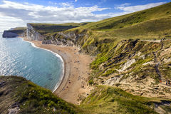 Dorset coastline looking towards Durdle Door, the route of the South-West coastal path, United Kingdom Royalty Free Stock Images