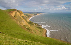 Dorset coastline looking towards West Bay. The route of the South-West coastal path.  This is noted for its fossils and part of the famous Dorset and East Stock Photography