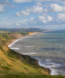 Dorset coastline looking towards West Bay. The route of the South-West coastal path.  This is noted for its fossils and part of the famous Dorset and East Royalty Free Stock Image