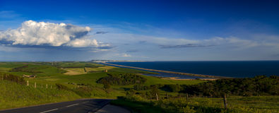 Dorset countryside overlooking Portland and the Fleet Stock Photo