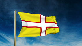 Dorset flag slider style. Waving in the win with. Dorset flag slider style. Waving with cloud background animation stock video footage