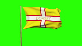 Dorset flag with title waving in the wind. Looping. Dorset flag with title waving in the wind. Loops sun rises style stock video footage