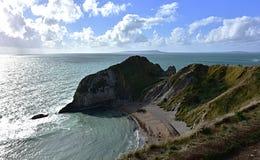 Dorset kształtuje teren, morze, faleza, chmurny niebo Zdjęcia Royalty Free