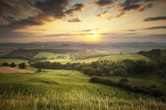 Dorset landscape. This is the view west from Eggardon Hill in Dorset, at sunset stock photography