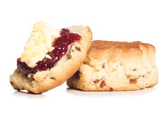 Dorset scone with clotted cream on top Stock Images
