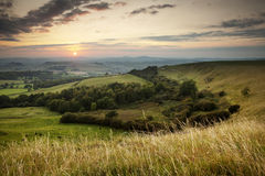 Dorset Sunset. This is the view west from Eggardon Hill in Dorset, at sunset royalty free stock photography