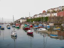 Dorset, UK - April 2011 - Very picturesque seaside port in a Spring . stock photo