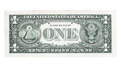 Dorso de un billete de banco del dólar Imagen de archivo