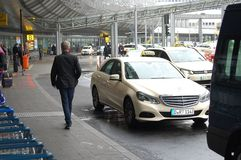 Dortmund Airport, Germany. Before leaving the taxi waiting for passengers. royalty free stock images