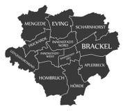 Dortmund city map Germany DE labelled black illustration. Dortmund city map Germany DE labelled black Stock Photos