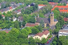 Dortmund. City in Ruhrgebiet (Ruhr Metropolitan Region) in Germany. Aerial view Royalty Free Stock Photography