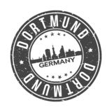 Dortmund Germany Europe Round Button City Skyline Design Stamp Vector Travel Tourism. Skyline with emblematic Buildings and Monuments of this famous city royalty free illustration