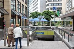 Dortmund. GERMANY - JULY 16, 2012: People enter metro station in , Germany. 2011 was the record year for growing  tourism with 594,712 visitors Royalty Free Stock Photos